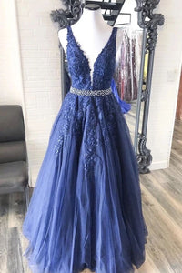 A-line V neck Royal Blue Lace Appliques Long Prom Dresses Tulle Evening Dress PFP1768