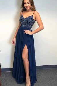 A-line Spaghetti Straps Dark Blue Chiffon Long Prom Dresses Beaded Evening Dress PFP1769