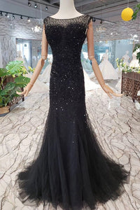 New Arrival Sequins Bodice Prom Dresses Tulle Mermaid Sweep Train