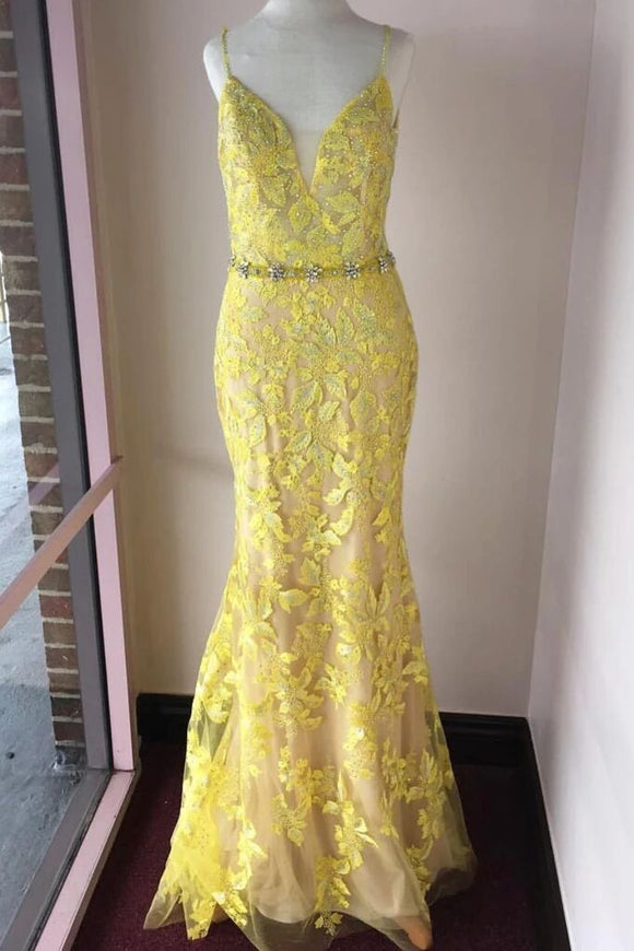 Trumpet/Mermaid Spaghetti Straps Lace Yellow Long Elegant Prom Dresses Evening Dress PFP1771