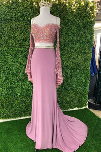 Promfast Chic Sheath Spaghetti Straps Pink Long Sleeves Prom Dresses Evening Dress PFP1774