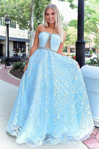 Promfast Stunning A-line Strapless Sky Blue Lace Beaded Long Prom Dresses Evening Dress PFP1775