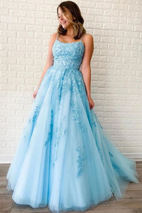 Promfast New Arrival A-line Spaghetti Straps Lace Appliques Long Blue Prom Dresses PFP1779
