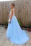 Gorgeous A Line V Neck Backless Sky Blue Tulle Long Prom Dresses PFP0094