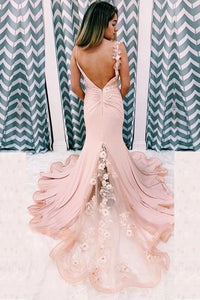 Promfast Mermaid Pink Lace Appliques Long Prom Dress With Slit Backless Evening Dress PFP1788