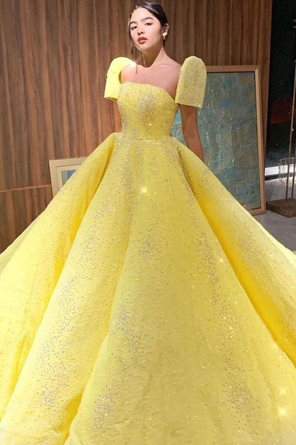 Promfast Ball Gown Sparkly Yellow Short Sleeves Prom Dresses Evening Dress PFP1789
