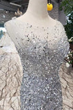 New Arrival Sequins Bodice Prom Dresses Tulle Mermaid Sweep Train PFP0555