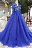 Royal Blue Tulle Long Sleeves Prom Dresses, Quinceanera Dresses