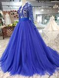 Royal Blue Tulle Long Sleeves Prom Dresses, Quinceanera Dresses PFP0557