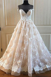 Charming Lace Long A Line Prom Dress, Long Wedding Dress With Cap Sleeves PFW0039