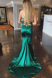 Elegant Mermaid Green Long Prom Dresses With Sweep Train PFP0473