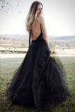 Black Tulle Backless Halter A Line Cheap Long Prom Dress Sexy Evening Dress PFP0020