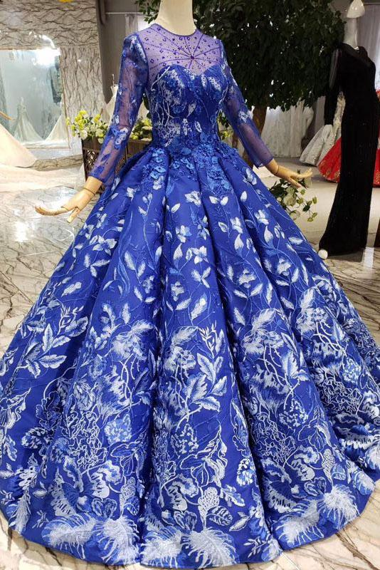 Royal Blue Long Sleeves Lace Prom Dresses,Ball Gown Quinceanera Dresses