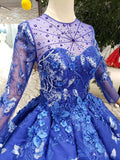 Royal Blue Long Sleeves Lace Prom Dresses,Ball Gown Quinceanera Dresses PFP0559
