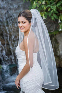 1T Layer Fingertip Length Tulle Wedding Veil with Satin Trim Edge