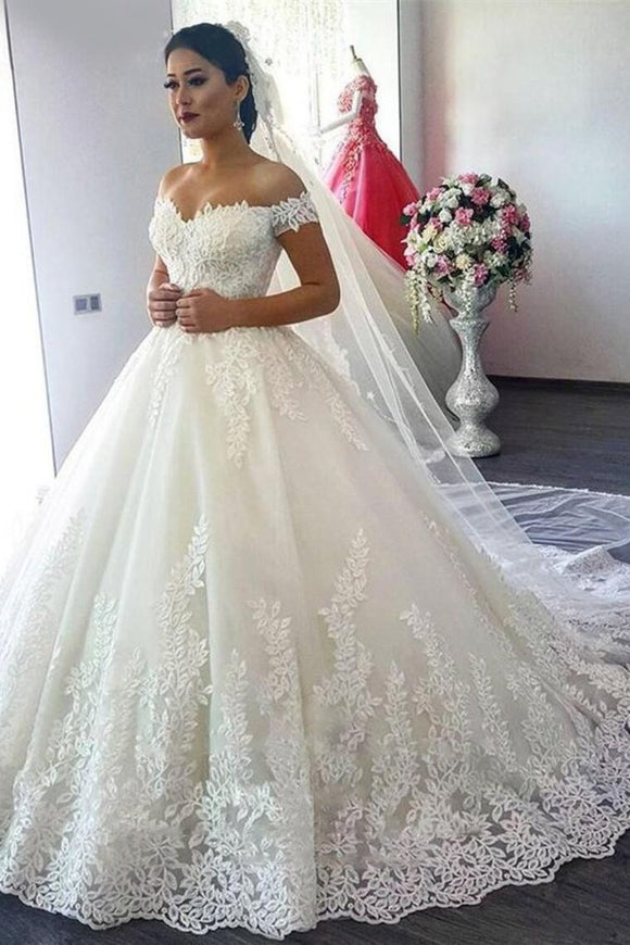 New Arrival Off The Shoulder A Line Wedding Dresses Tulle With Applique Sweep Train PFW0045