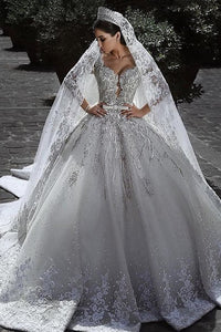Princess Long Sleeves A Line Ball Gown Wedding Dresses With Applique PFW0046