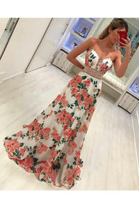 Fashion A Line Floral Spaghetti Strap Long Sleeveless Prom Dresses