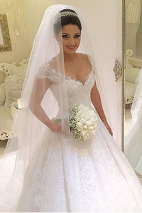 A Line Cap Sleeves Wedding Dresses Tulle With Applique And Beads Court Train PFW0049