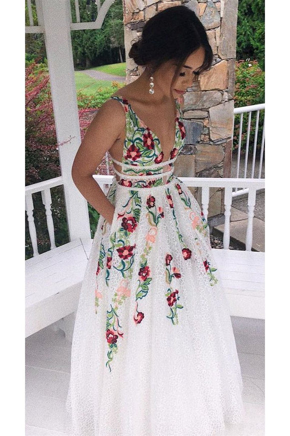 Charming V Neck Floral Embroidery Long Lace Prom Dress with Pocket