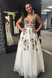 Charming V Neck Floral Embroidery Long Lace Prom Dress with Pocket PFP0565