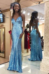 Sky Blue Sequin Sparkly Spaghetti Strap V Neck Prom Dresses,Formal Evening Dress