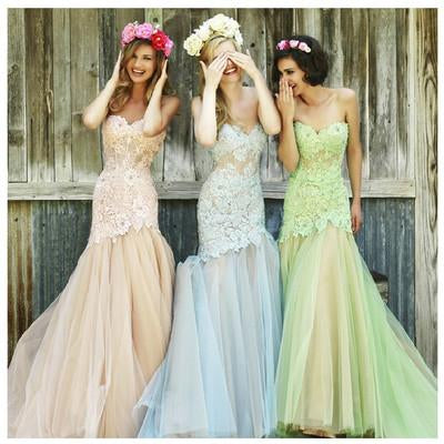 Mermaid Sweetheart Tulle Bridesmaid Dresses,Long Lace Fashion Prom Dresses PFB0043
