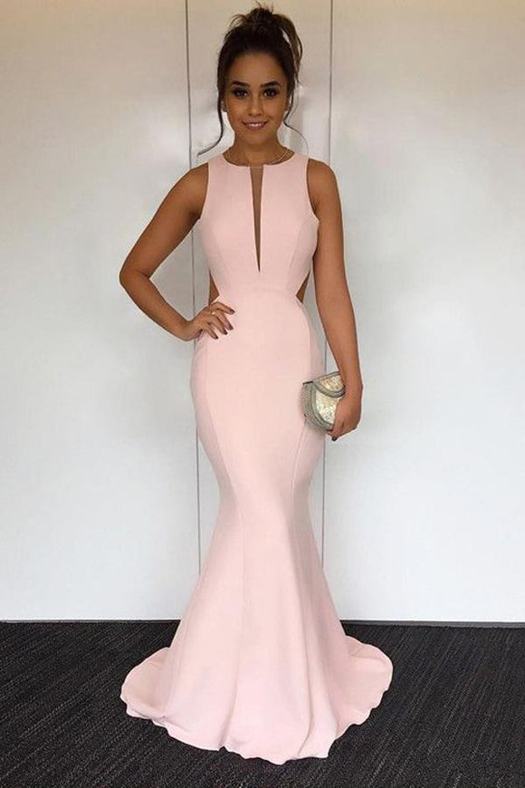 Mermaid Open Back Floor-Length Pink Simple Prom Dress