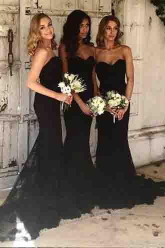 Mermaid Style Sweetheart Sweep Train Black Long Bridesmaid Dress with Lace PFB0045