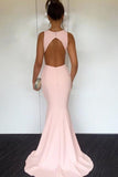 Mermaid Open Back Floor-Length Pink Simple Prom Dress PFP0570