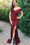 Mermaid Off-the-Shoulder Burgundy Simple Prom Dress with Split