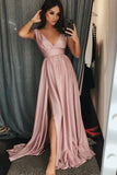 Cheap A-Line V-Neck Sweep Train Pink Prom Dress with Pleats Split