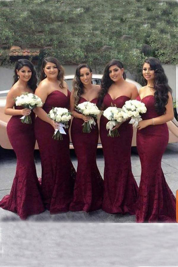 Elegant Sweetheart Strapless Burgundy Lace Mermaid Cheap Long Bridesmaid Dresses PFB0050