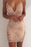 Sexy Sequin Sheath Spaghetti Straps Homecoming Dress,Cocktail Party Dresses PFH0039