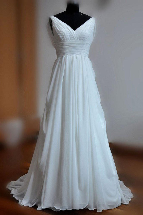 Simple White A-line V-neck Backless Sweep Train Chiffon Cheap Beach Wedding Dresses PFW0250