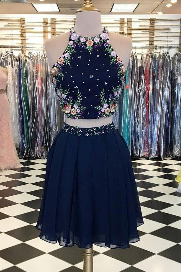 Two Pieces Dark Navy Scoop Floral Elegant Short Prom Dresses,Homecoming Dress PFH0042