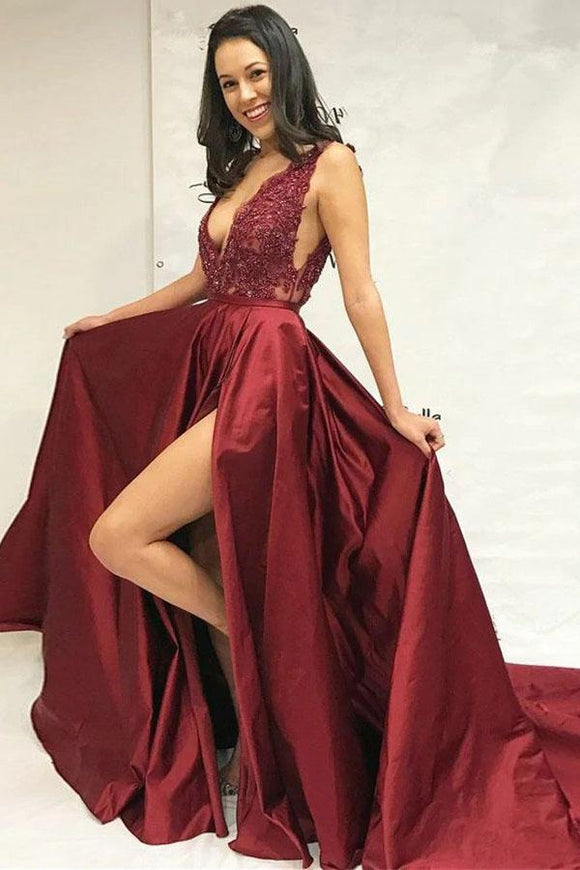 Sexy Burgundy Beaded Slit Skirt Evening Dress, Graduation School Party Gown