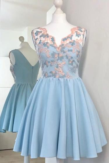 Cute V-Neck A Line Light Blue Short Homecoming Dress with Appliques PFH0043