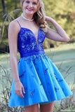 Cute A Line Spaghetti Straps Royal Blue Short Homecoming Dresses with Beading PFH0044