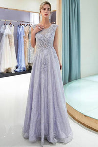 Elegant A Line Scoop Sleeveless Lavender Long Lace Prom Dress with Appliques PFP0101