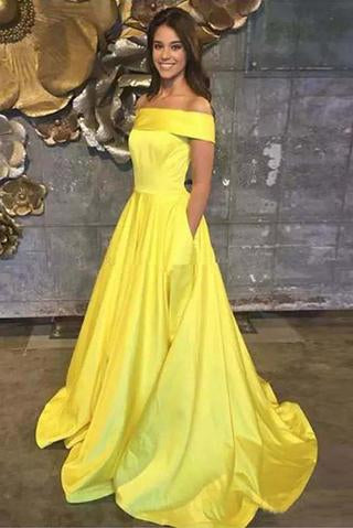 Yellow Off The Shoulder A Line Prom Dress,Long Evening Gown With Pockets