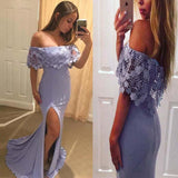 Pretty Lavender Off Shoulder With Lace Split Mermaid Prom Dresses PFP0102