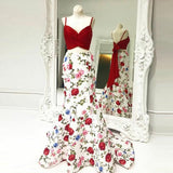 Mermaid Spaghetti Straps Floral Print Red Top Prom Dresses PFP0581