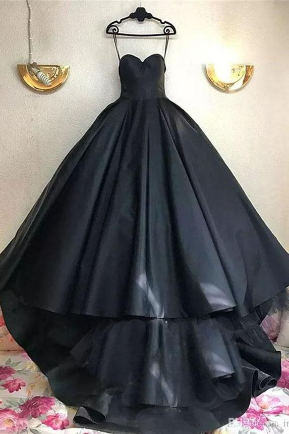 Black Ball Gown Sweetheart Sweep Train Prom Dress Long Evening Dress PFP0104