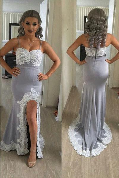 Mermaid Split Side Sexy Spaghetti Straps Lace Long Prom Dress PFP0105