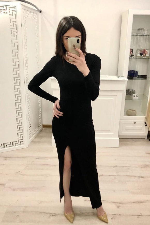 Sheath Long Sleeves Split Black Sexy Prom Dresses, Formal Evening Dresses