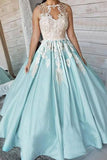 Unique Satin Appliques Long Sleeveless Ball Gown Prom Dress PFP0106
