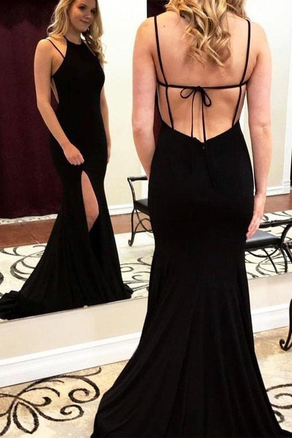 Charming Mermaid Halter Cross Back Split Black Long Prom Dresses PFP0107