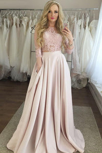 Two Piece 3/4 Sleeves Floor-Length Pink Satin Prom Dress with Lace Pockets