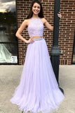 Two Piece Halter Backless Tulle Lavender Prom Dress with Lace Beading